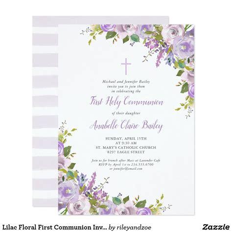 Lilac Floral First Communion Invitation Zazzle com