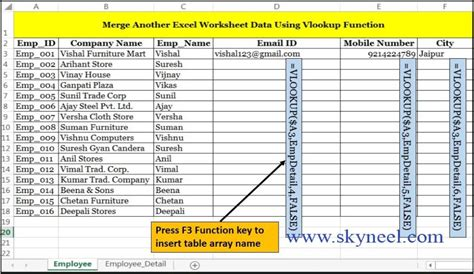 vlookup merge data from one sheet to another excel worksheet
