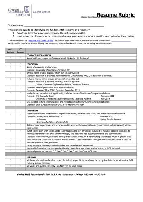resume rubric template printable