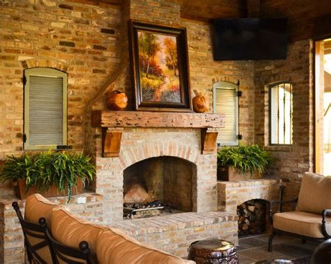 fireplace fascinating rustic patio  cool brick