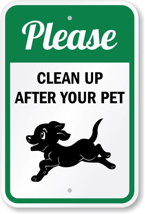 please clean up after your pet sign puppy running