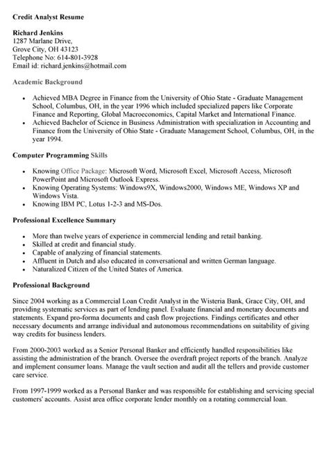 skill resume credit analyst resume sle credit analyst