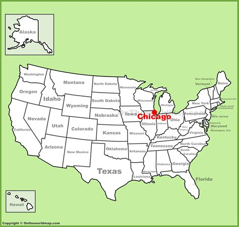 Chicago location on the U.S. Map
