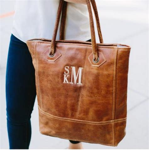 monogrammed rustic leather tote