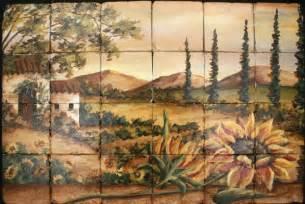 tre sorelle tuscan sunflower tile mural