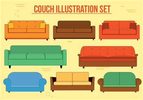 sofa outline vector couch vector set download free vector art stock