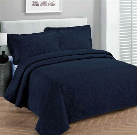 Navy Blue Coverlet by King Size 3 Pc Solid Embossed Bedspread Bed Cover New