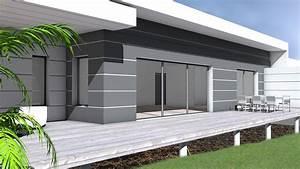 maison contemporaine a toit terrasse et bardage composite With terrasse terrain en pente