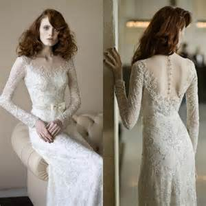 vintage lace wedding dresses with sleeves vintage sleeve wedding dresses lace sash illusion sheer vestido de novia 2015 bridal
