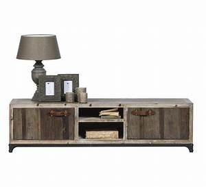 Tele 180 Cm : meuble tv bois vieilli 180 cm 39 voyage 39 5830 ~ Teatrodelosmanantiales.com Idées de Décoration