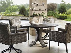 Tommy, Bahama, Outdoor, -, Blue, Olive, Round, Dining, Table, With, 54, Inch, Weatherstone, Top