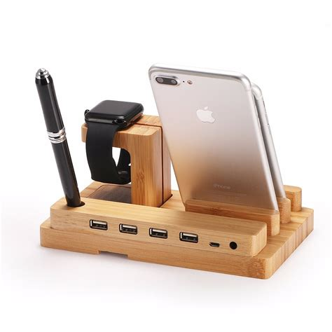 smartphone stand for desk bamboo wood charge multi function pen phone stand