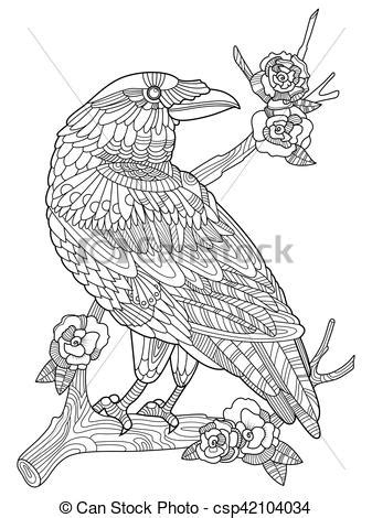 Crow bird coloring book for adults vector illustration. anti-stress coloring for adult. tattoo
