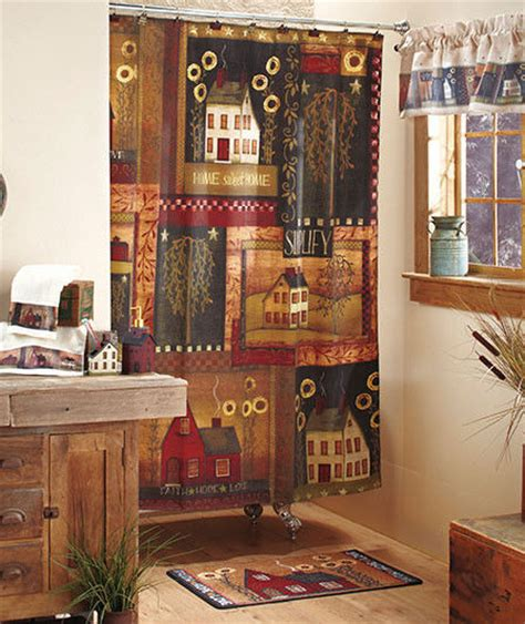 primitive house shower curtain in fabric country bath