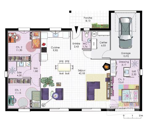 plan de maison plain pied 3 chambres gratuit cuisine modele plan maison plein pied gratuit plan maison
