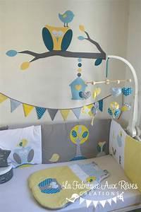 Deco Chambre Bebe Bleu : d coration chambre b b chouette hibou arbre oiseau nichoir bleu ciel jaune bleu p trole canard ~ Teatrodelosmanantiales.com Idées de Décoration