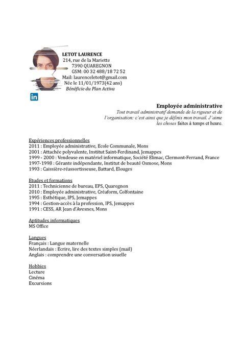 employ馥 de bureau offre d emploi calaméo cv letot employée administrative 2015