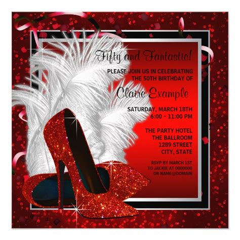 womans black and high heels birthday invitation zazzle 50th birthday