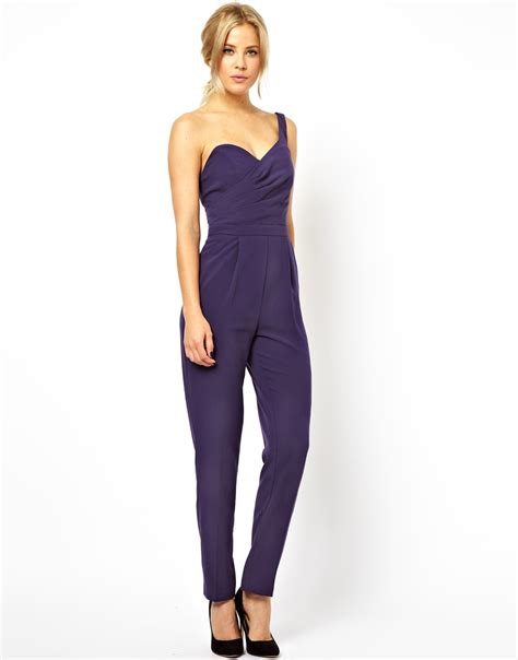 asos jumpsuit asos jumpsuit with one shoulder and open back in purple lyst