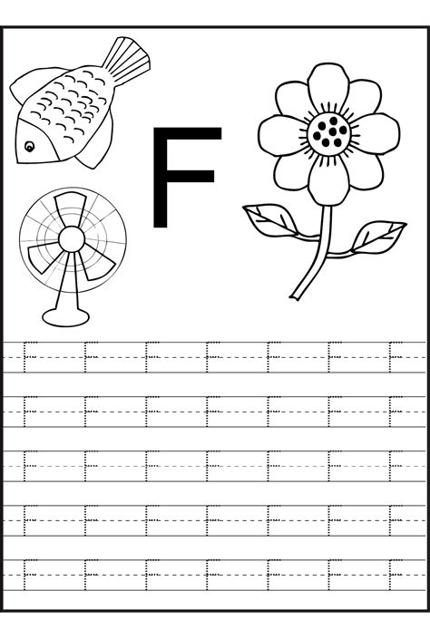 trace the letters letter f learning to write