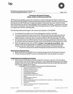 site specific safety health and environmental plan With environmental health and safety plan template