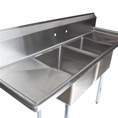 prep sinks with drainboards regency 72 quot 16 stainless steel two compartment