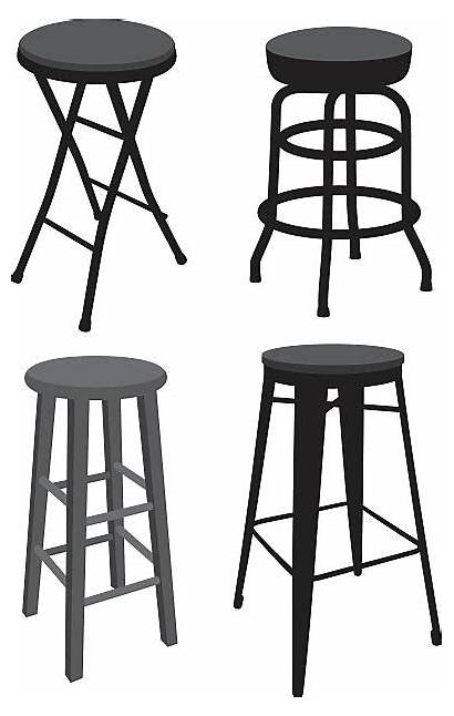 Stool Bar Vector Illustrations Clip Dining Silhouettes
