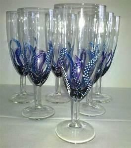 Vaisselle En Verre : 6 fl tes champagne flammes bleues vaisselle verres par mamycole verres et carafes ~ Teatrodelosmanantiales.com Idées de Décoration