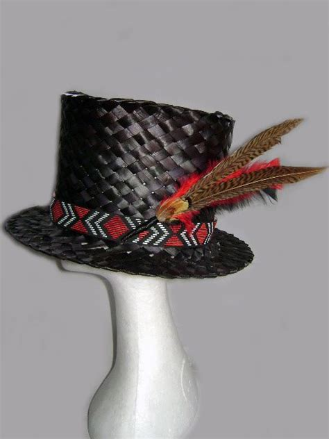 Black Top Hat With Trim Hats Flax Weaving Maori