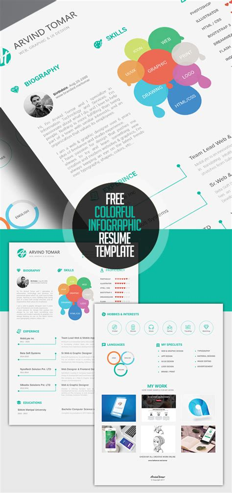 Free Colorful Resume Templates by Fresh Free Resume Templates Freebies Graphic Design Junction