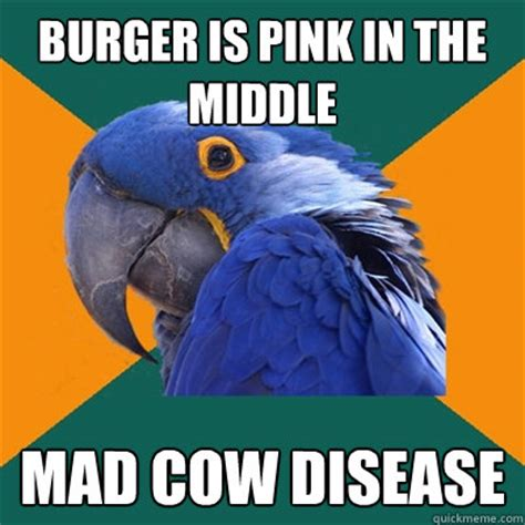 Mad Cow Disease Meme - burger is pink in the middle mad cow disease paranoid parrot quickmeme