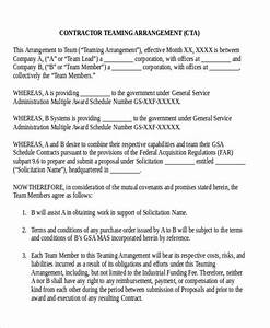 10 sample contractor agreement free sample example With teaming agreement template