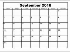 Printable September and October 2018 calendar July 2018