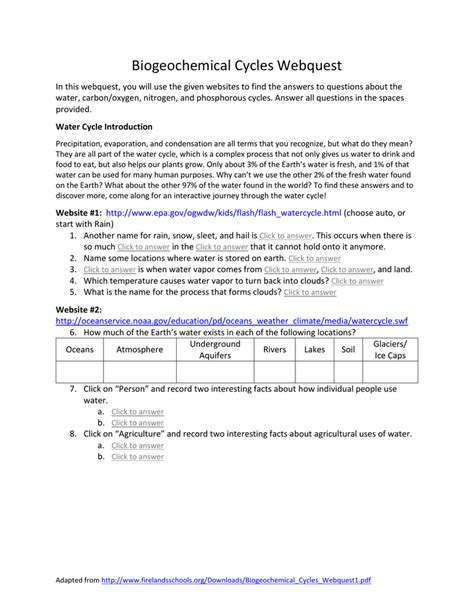 Introduction to how water, carbon, nitrogen, and phosphorus are cycled through ecosystems. 35 Biogeochemical Cycles Webquest Worksheet Answers ...