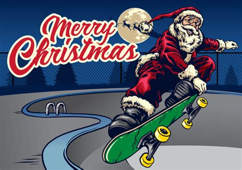 Christmas Greeting Card With Santa Claus Ride Skateboard