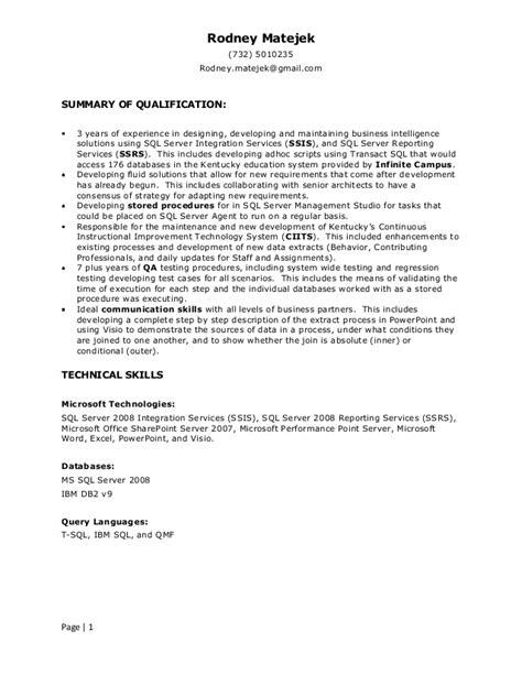 Bi Developer Resume Sles by Resume Rodney Matejek Sql Server Bi Developer
