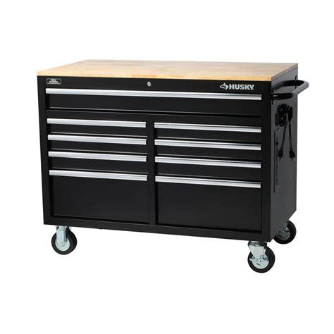 husky portable mobile workbench     drawer solid