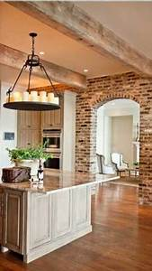 74, Stylish, Kitchens, With, Brick, Walls, And, Ceilings