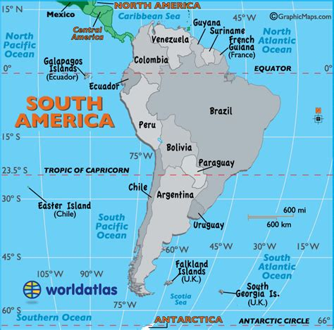 south america map map  south america worldatlascom
