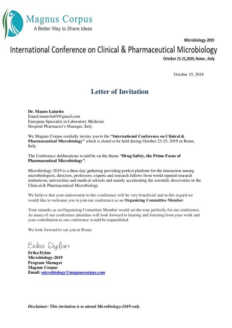 luisetto  invitation letter international conference