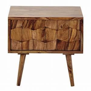 Table De Chevet Bois Massif : table de chevet avec tiroir en bois de sheesham massif l 45 cm quadra maisons du monde ~ Teatrodelosmanantiales.com Idées de Décoration
