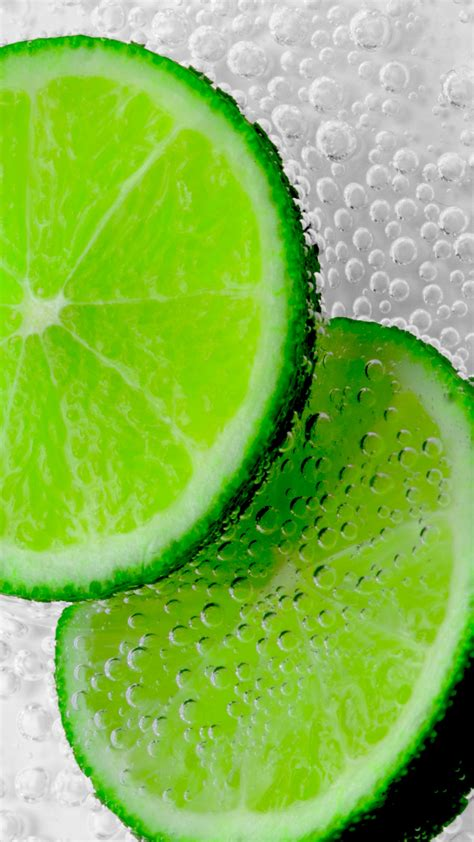 lemon slice green piece wet bubbles hd background