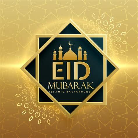 golden eid mubarak card vector