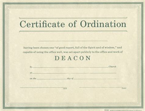 ordination certificate template ordination for deacon b h publishing