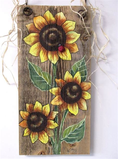 Wood For Decorative Painting - sunflowers yellow tole painted on reclaimed by