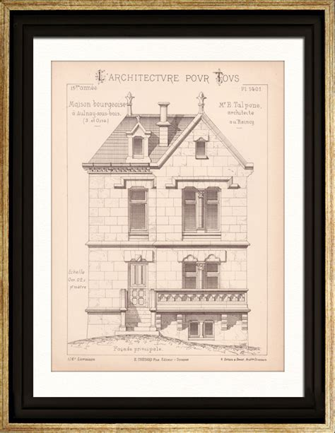 antique prints print of drawing of architect aulnay sous bois house maison bourgeoise
