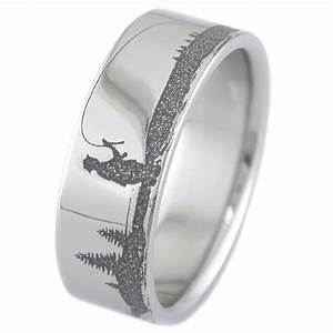 men39s laser carved titanium fishing ring titanium buzz With mens fishing wedding rings