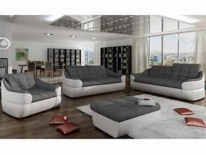 Canapé en tissu et simili gris/blanc ou gris/noir FAREZ