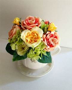 Rooster Ceramic Coffee Cup Table Centerpiece Floral