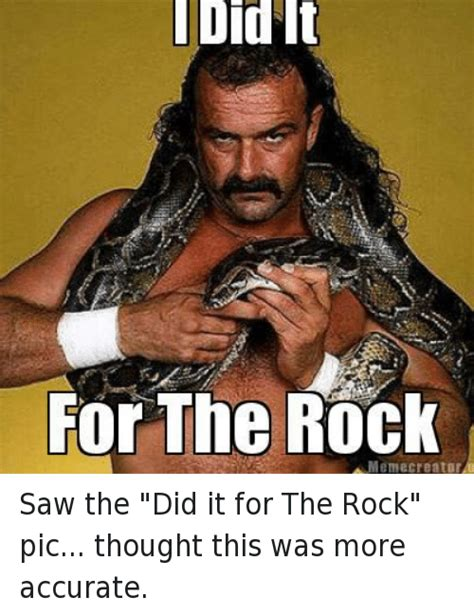 Rock Meme - did i did it for the rock a meme creator saw the did it for the rock pic thought this was more